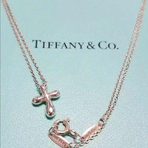 "Tiffany & Co sterling Mini Cross Necklace 18"""